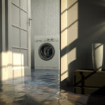 Residential water damage caused by defective washing machine