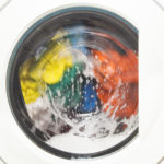 Colorful laundry in washing machine