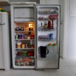 Refrigerator in the kitchen with food
