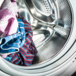 Laundry inside a washing machine drum