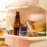 Fridge shelf with food